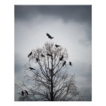 A tree in which many crows have rest print