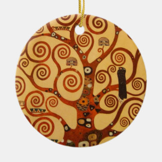 A Tree of Life Double-Sided Ceramic Round Christmas Ornament