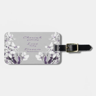 A Tree with White & Purple Flowers Gray Background Bag Tag