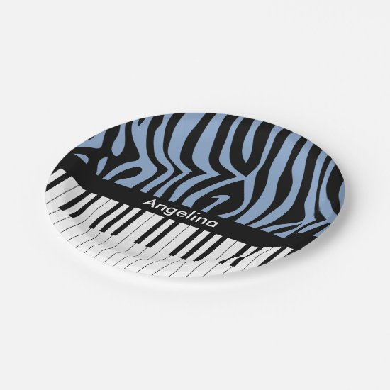 A trendy and hip music design featuring piano keys paper plate
