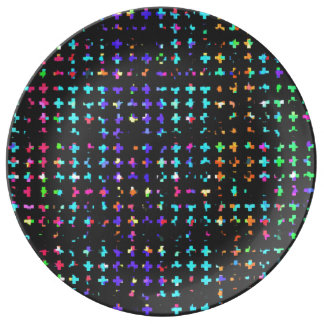 A Trendy Chic Colorful Watercolor Cross Pattern Plate