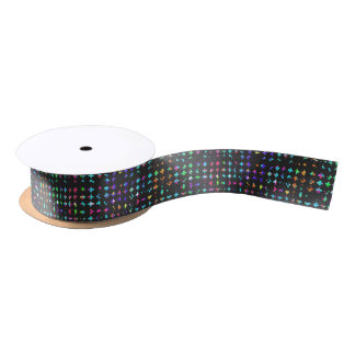 A Trendy Chic Colorful Watercolor Cross Pattern Satin Ribbon