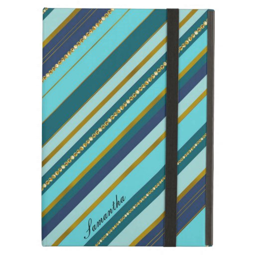 A trendy monogram aqua turquoise stripy golden case for iPad air