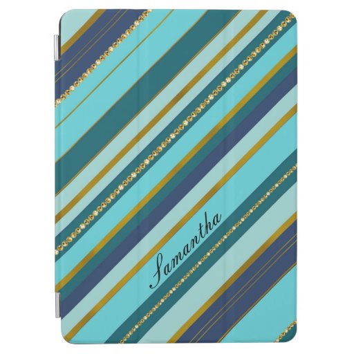 A trendy monogram turquoise aqua stripy golden iPad air cover
