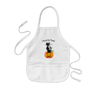 A Trick or Treat Cat Kids' Apron
