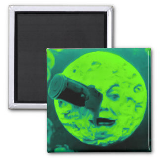 A Trip to the Moon (Aqua Marine Retro Sci Fi) Magnet