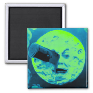 A Trip to the Moon (Aqua Marine Retro Sci Fi) Refrigerator Magnet