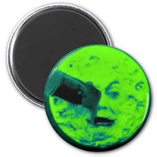 A Trip to the Moon (Aqua Marine Retro Sci Fi) Fridge Magnet
