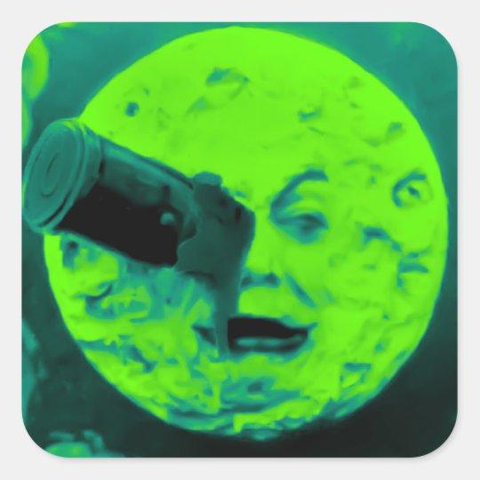 A Trip to the Moon (Aqua Marine Retro Sci Fi) Square Sticker