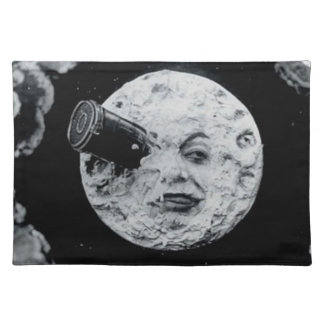 A Trip to the Moon (Black and White) Place Mats
