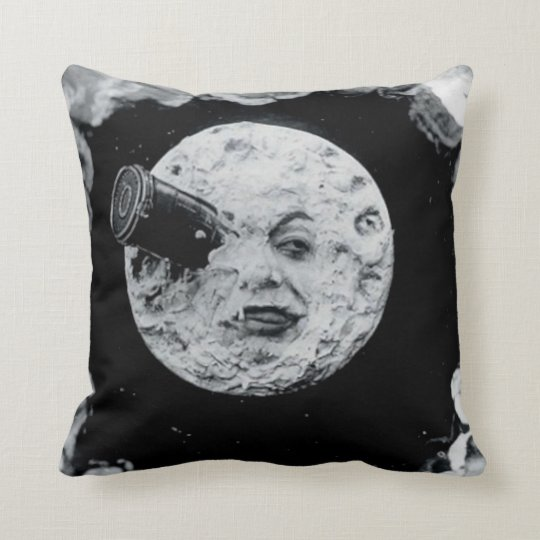 A Trip to the Moon (Black and White) Throw Pillow