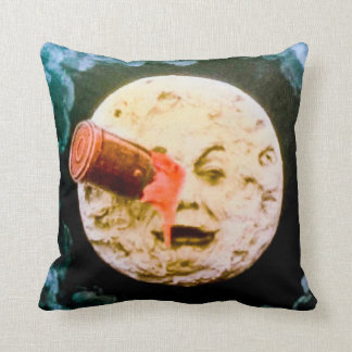 A Trip to the Moon (Hand Tinted) Throw Pillow