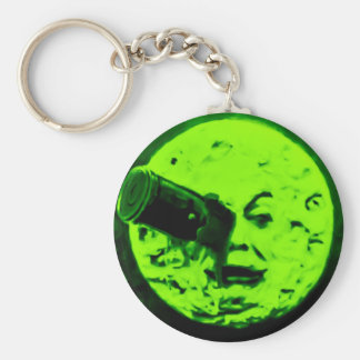 A Trip to the Moon (Martian Retro Green) Basic Round Button Keychain