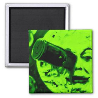 A Trip to the Moon (Martian Retro Green) Fridge Magnet