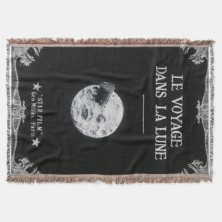 A Trip to the Moon Retro Movie Poster French Throw Blanket