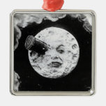 A Trip to the Moon Square Metal Christmas Ornament