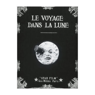 A Trip to the Moon Vintage Retro French Cinema Stretched Canvas Prints