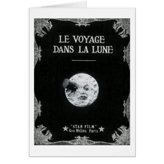 A Trip to the Moon Vintage Retro French Cinema Card