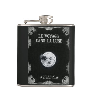 A Trip to the Moon Vintage Retro French Cinema Flask