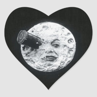 A Trip to the Moon Vintage Retro French Cinema Heart Sticker