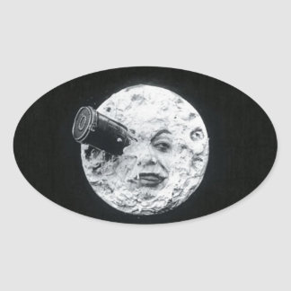 A Trip to the Moon Vintage Retro French Cinema Oval Sticker