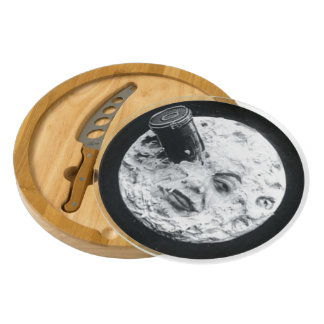A Trip to the Moon Vintage Retro French Cinema Round Cheeseboard