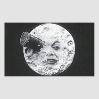 A Trip to the Moon Vintage Retro French Cinema Rectangular Sticker