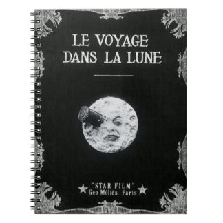A Trip to the Moon Vintage Retro French Cinema Spiral Notebook