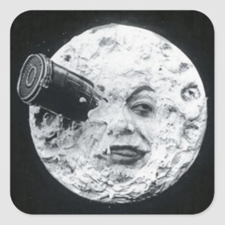 A Trip to the Moon Vintage Retro French Cinema Square Sticker
