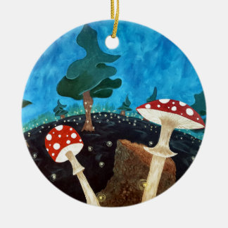 A trippy night in the woods ceramic ornament
