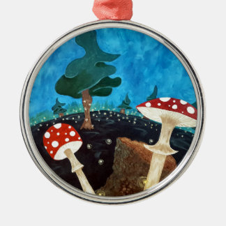 A trippy night in the woods metal ornament