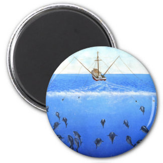 A Trolling Boat 2 Inch Round Magnet