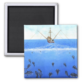 A Trolling Boat 2 Inch Square Magnet
