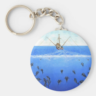 A Trolling Boat Basic Round Button Keychain