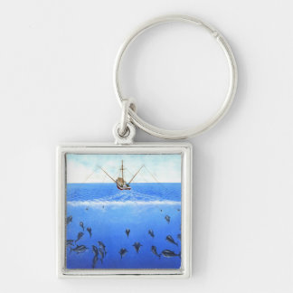 A Trolling Boat Silver-Colored Square Keychain