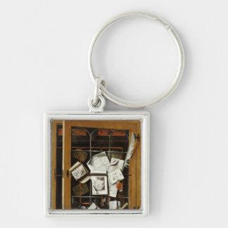 A trompe l'oeil of an open glazed cupboard keychain