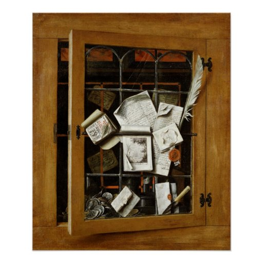 A trompe l 39 oeil of an open glazed cupboard poster zazzle for Poster fenetre trompe l oeil