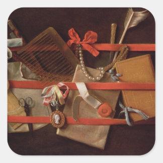 A Trompe L'Oeil of Objects Square Sticker