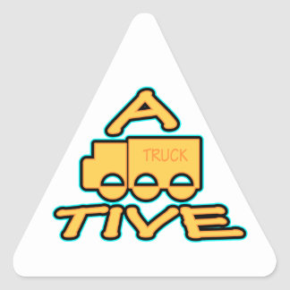 A TRUCK TIVE funny attractive logo Triangle Sticker