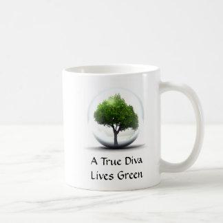 A True Diva Lives Green Classic White Coffee Mug