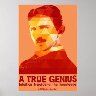 A True Genius -Nikola Tesla- Poster