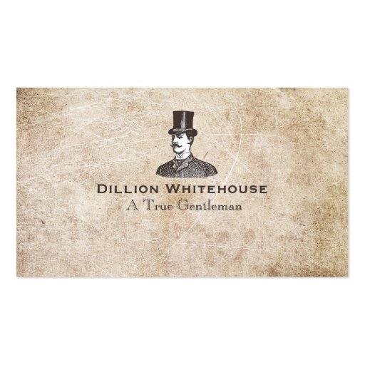 A True Gentleman in Top Hat Aged Grunge Look Double-sided Standard Business Cards (pack Of 100)