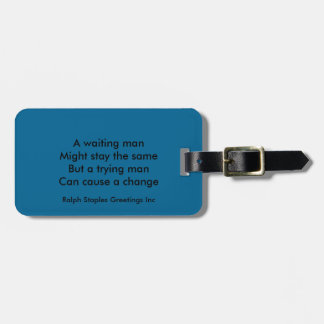 A trying man motivational travel bag tags