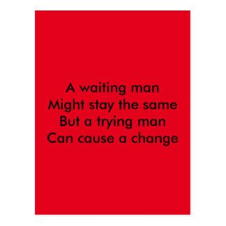 A trying man motivational postcard