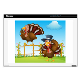 """A turkey above the wooden fence and a turkey weari 17"""" laptop skins"""