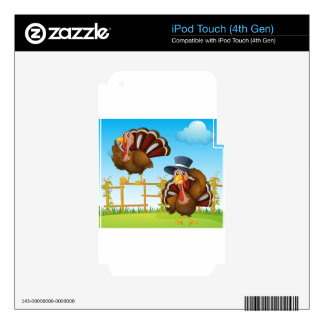 A turkey above the wooden fence and a turkey weari decal for iPod touch 4G