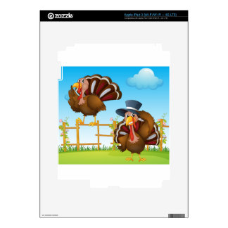 A turkey above the wooden fence and a turkey weari iPad 3 skins