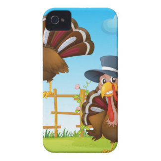 A turkey above the wooden fence and a turkey weari iPhone 4 Case-Mate cases