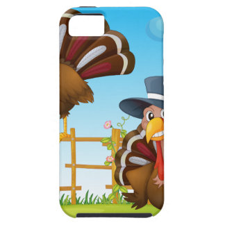 A turkey above the wooden fence and a turkey weari iPhone 5 case