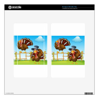A turkey above the wooden fence and a turkey weari kindle fire decal